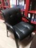 Кресло кожаное черное офисное для посетителей